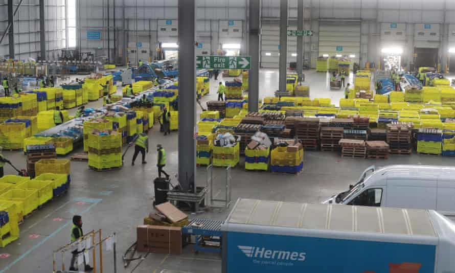 The vast sorting hub at Hermes' Hemel Hempstead site.