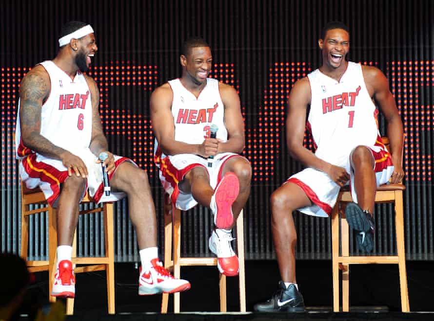 LeBron James, Dwyane Wade and Chris Bosh during their time together at the Miami Heat