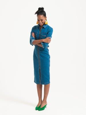 Model wears blue denim dress, £40, asos.com. green courts, £195, lkbennett.com. yellow oversized earrings, £12.99, zara.com.