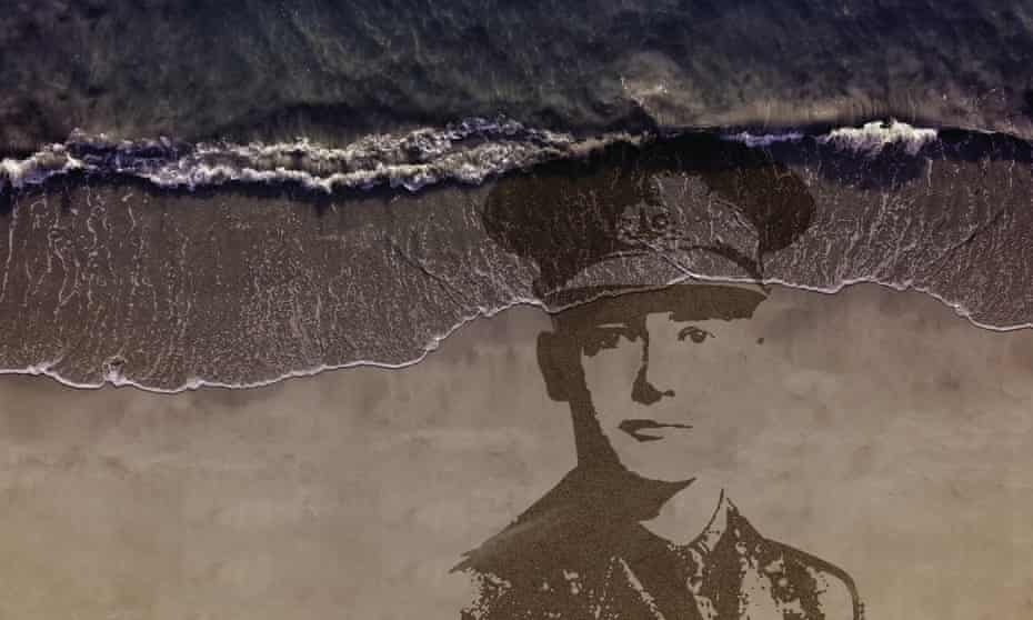 An artist's impression of one of the Pages of the Sea sand portraits
