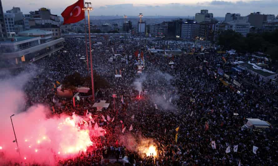 Protesters rally in Taksim Square, Istanbul, against the government's crackdown on environmentalists angered by a development project at Gezi park in 2013.