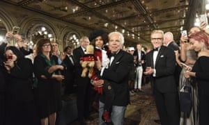 Ralph Lauren greets the audience during New York fashion week.