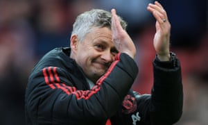 Ole Gunnar Solskjær applauds the fans after witnessing his side's win over West Ham.