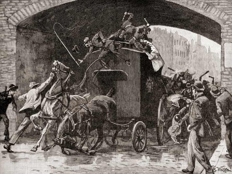 Fenians attack a horse-drawn police van in Manchester transporting two arrested leaders of the Brotherhood. From Cassell's History of England (1900).