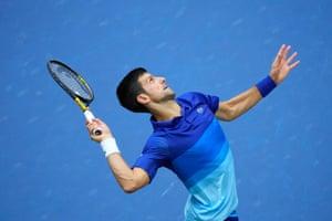 Novak Djokovic unleashes a serve.