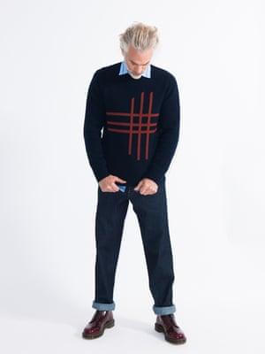 model wears jumper, £169, oliverspencer.co.uk. Shirt, £290, by JW Anderson, from brownsfashion.com. Jeans, £85, levi.com. Shoes, £105, drmartens.com.