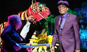 Vivid composite for 2019 Vivid featuring Spike Lee, Briggs, The Cure frontman Robert Smith, a giant illuminated tiger at Taronga Zoo, and an Australian honey bee