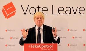 Boris Johnson campaigning for Brexit.