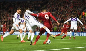 Maribor's Aleksander Rajcevic hauls down Roberto Firmino and the referee points to the spot.