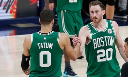 Jayson Tatum and Gordon Hayward celebrate Sunday's win