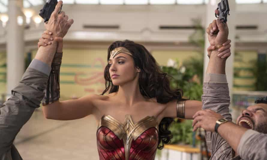 'Hands up who likes my film' ... Gal Gadot boosts the ratings for Wonder Woman 1984.