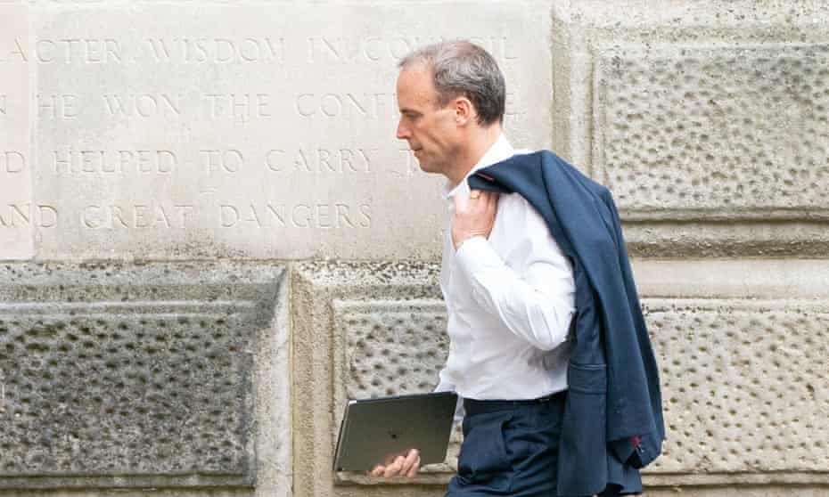 Dominic Raab arriving at the Foreign Office in Westminster on Friday