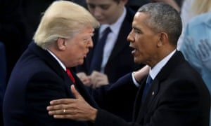Donald Trump and Barack Obama after Trump took the oath of office on the West Front of the US Capitol on 20 January, 2017.