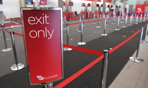 An empty Virgin Australia check-in area at Brisbane airport