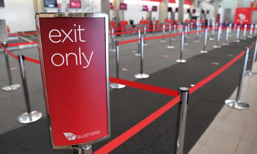 An empty Virgin Australia check-in area at Brisbane airport
