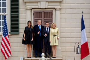 A thumbs-up from both leaders outside the Mount Vernon mansion. Macron is under pressure to persuade Trump to waive trade restrictions on European steel and aluminium and save the Iran nuclear deal