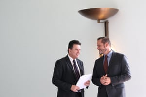 Greens senator Peter Whish-Wilson (right) and Independent Nick Xenophon