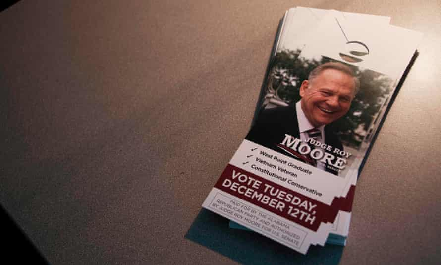 A stack of door pamphlets for Roy Moore at Republican party HQ.