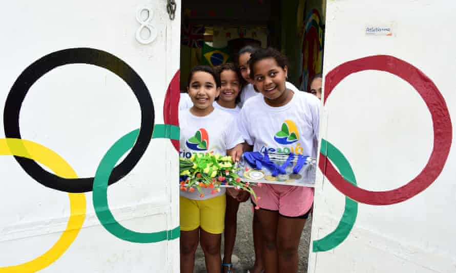 Children in Rio celebrate the Olympic Games.