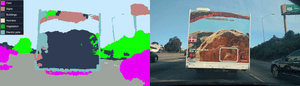 What a self-driving car system sees when it drives behind an advertising hoarding.