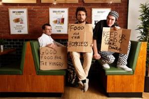 Social Bite's Colin Childs, owner Josh Littlejohn and Joe Maclean