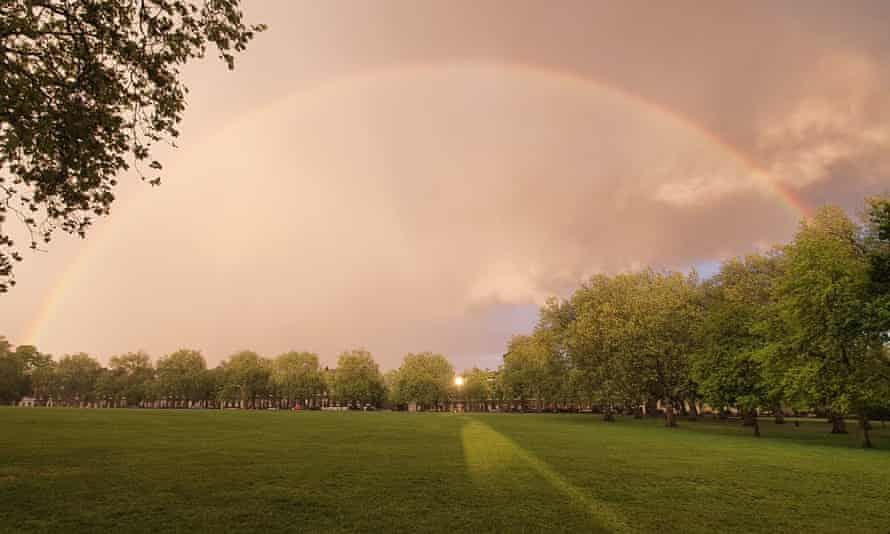 A rainbow above Highbury Fields in April 2020. A protest at the park put gay rights in the news in 1970.