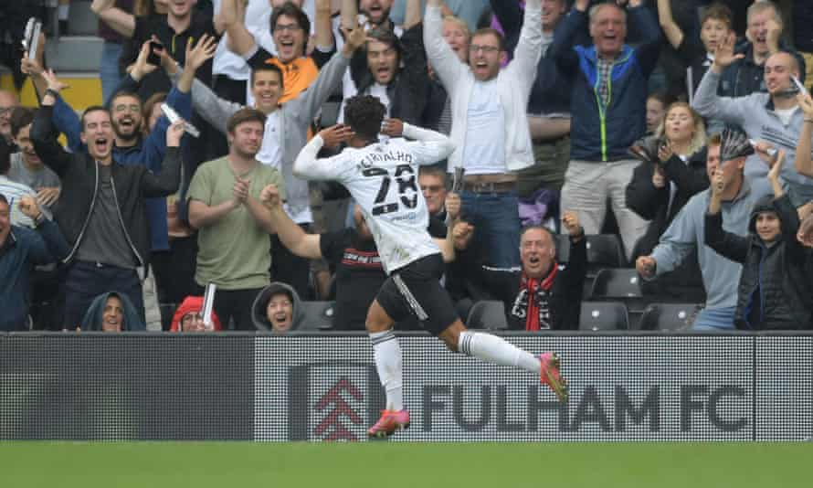 Fabio Carvalho runs to delighted Fulham fans after scoring against Hull