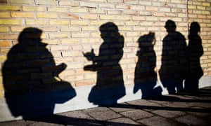 Shadows of young people.