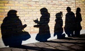 Shadows of teenagers.