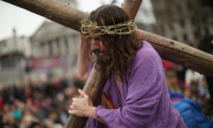 Blessed is the headset: an actor plays Christ in London.