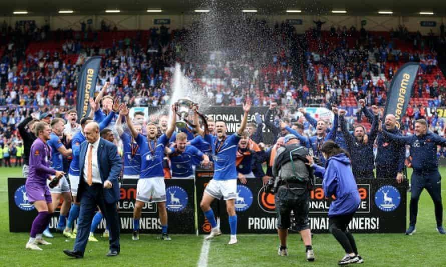 Hartlepool players celebrate
