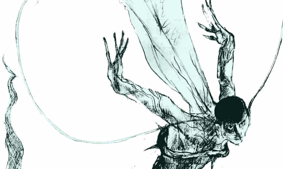 Sprite flight … detail from an illustration in The Wizards of Once.