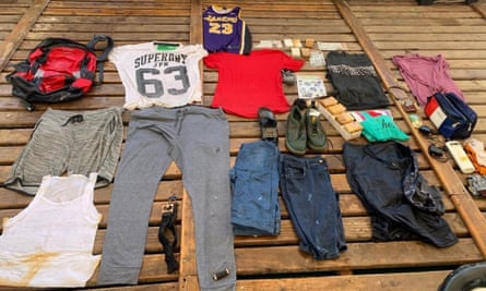 The contents of a rucksack belonging to Algerian couple Ahmed and Doudou, which was found in the Mediterranean by the NGO Open Arms in Italy.