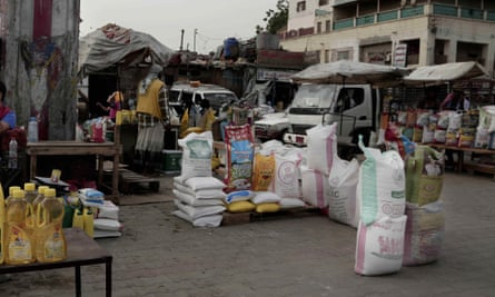 Aid supplies diverted for sale at a market in Aden, Yemen, July 2018.