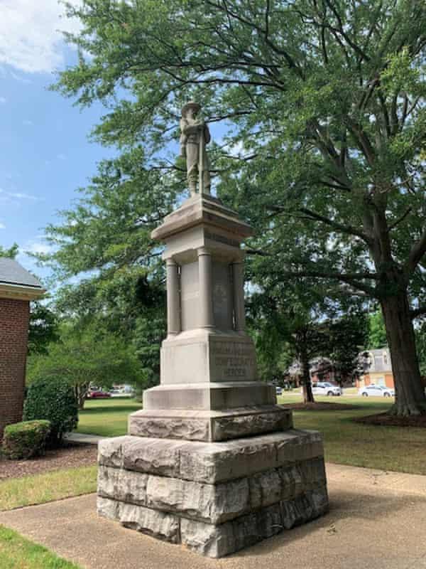 A confederate statue near Municipal Building Two.