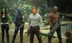 From left, Zoe Saldana, Karen Gillan, Chris Pratt, Dave Bautista and Rocket, voiced by Bradley Cooper, in Guardians of the Galaxy Vol 2.