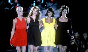 Linda Evangelista, Cindy Crawford, Naomi Campbell and Christy Turlington lipsync to George Michael's Freedom during Versace's A/W show in 1991