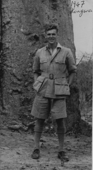 Peter Le Mare in front of a baobab tree in Kongwa in 1947 at the start of the Tanganyika groundnut scheme