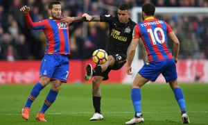 Newcastle's Kenedy is challenged by Yohan Cabaye and Andros Townsend of Crystal Palace during the Premier League match.