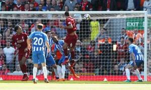 Lovren heads home Liverpool's second.