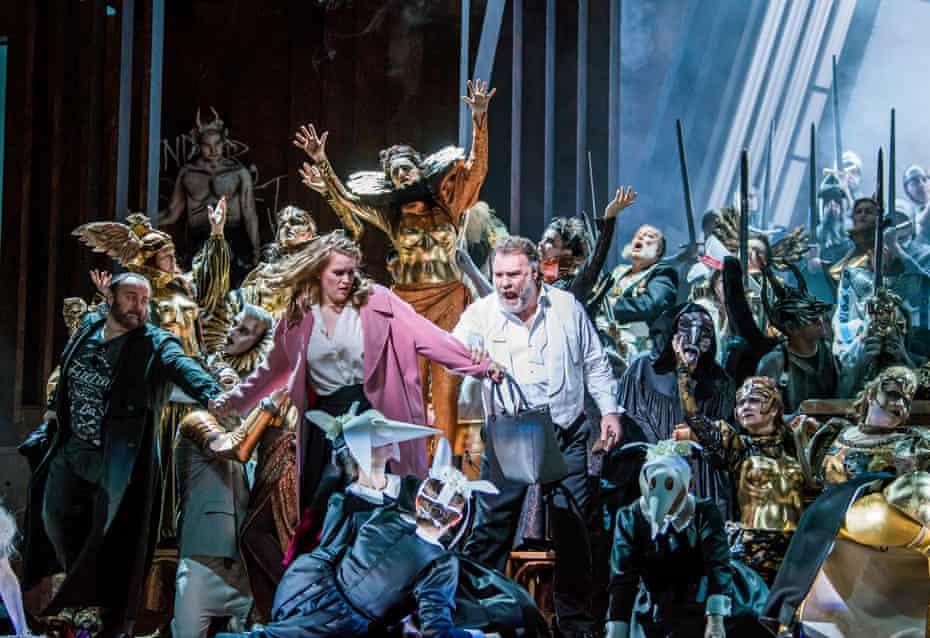 Gwyn Hughes Jones (Walther Von Stolzing), Rachel Willis-Sorensen (Eva) and Bryn Terfel (Hans Sachs) in Die Meistersinger von Nürnberg at the Royal Opera House.