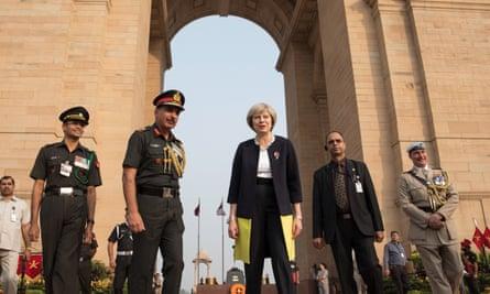 Theresa May at the India Gate war memorial in New Delhi.
