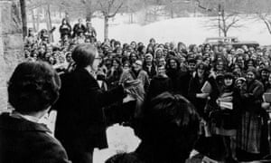 Ann Rosewater listens to Hillary Clinton in the late 60s.