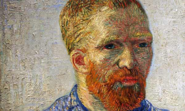 A detail from self-portrait as an artist, by Vincent Van Gogh