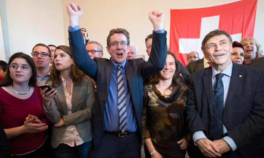 The Swiss People's party (SVP) celebrate the vote to curb immigration in 2014.