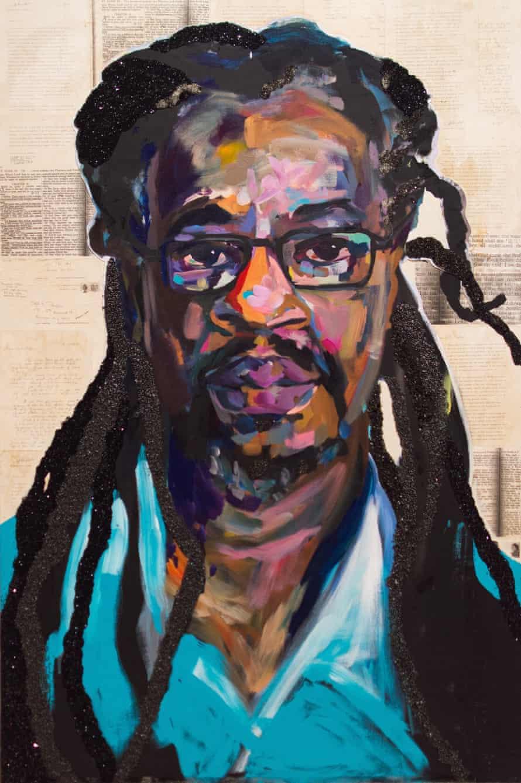 A portrait of Dr Mutulu Shaku by Sophia Dawson.