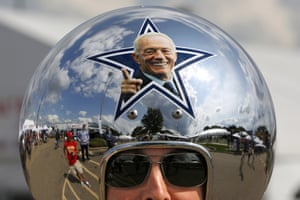 Dallas Cowboys fan Gregg Wilson arrives for the Pro Football Hall of Fame inductions, including that of Cowboys owner Jerry Jones, whose photo is on the helmet, Canton, Ohio, US