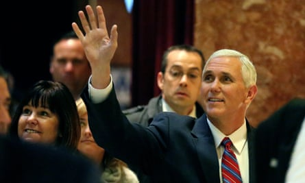 Vice-President-elect Mike Pence, the head of Donald Trump's transition team, arrives for talks at Trump Tower in New York on Tuesday.