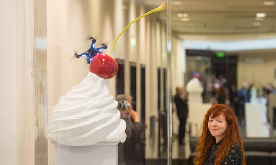 Heather Phillipson with a model of the dollop of cream that will adorn the fourth plinth in 2020.