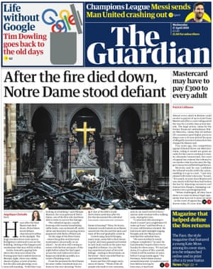 Guardian front page, Wednesday 17 April 2019